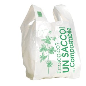 Shopper in Mater-bi compostabile bianco 27+7+7x50 8 gr